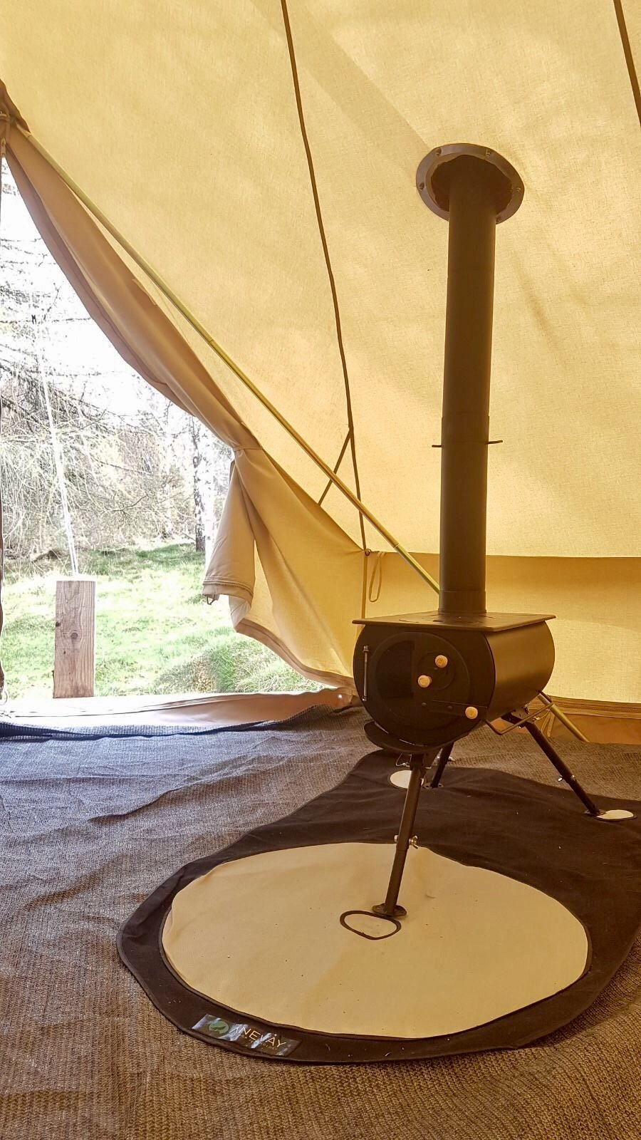 Log Burner in the Bell Tent